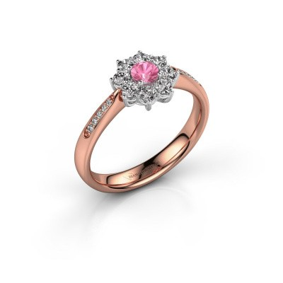 Verlovingsring Carolyn 2 585 rosé goud roze saffier 3.4 mm
