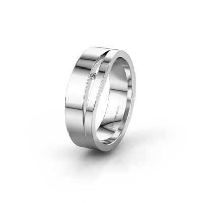 Wedding ring WH6000L16AP 585 white gold lab grown diamond ±0.24x0.07 in