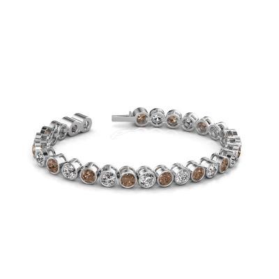 Tennisarmband Allegra 5 mm 585 witgoud bruine diamant 14.00 crt