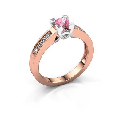 Verlovingsring Nina 2 585 rosé goud roze saffier 4.2 mm