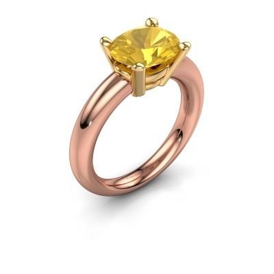 Ring Janiece 585 rosé goud gele saffier 10x8 mm