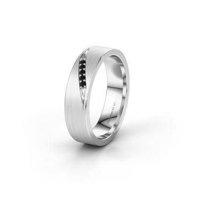 Wedding ring WH2148L25AM 585 white gold black diamond ±5x1.7 mm