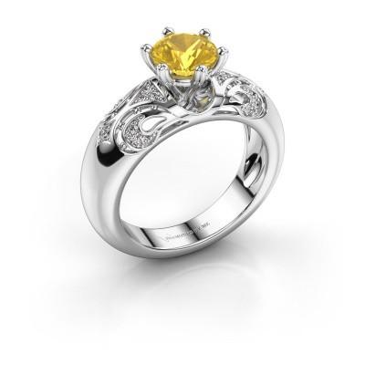 Ring Maya 585 Weißgold Gelb Saphir 6.5 mm