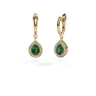 Picture of Drop earrings Ginger 1 585 gold emerald 7x5 mm