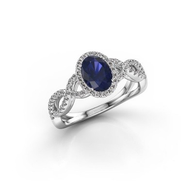 Engagement ring Dionne ovl 925 silver sapphire 7x5 mm
