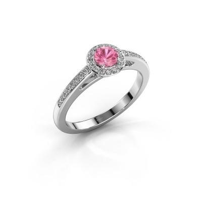 Verlovingsring Aaf 585 witgoud roze saffier 4.2 mm