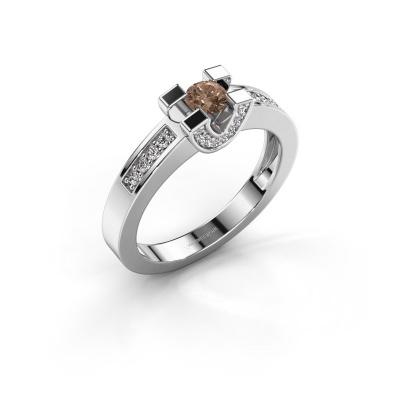 Verlovingsring Jasmijn 2 585 witgoud bruine diamant 0.41 crt