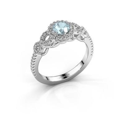 Engagement ring Sasja 585 white gold aquamarine 5 mm