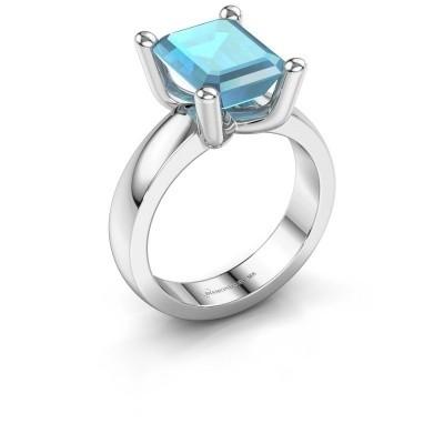 Ring Clelia EME 950 platina blauw topaas 10x8 mm