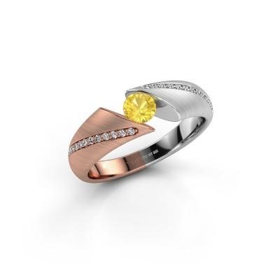 Verlovingsring Hojalien 2 585 rosé goud gele saffier 4.2 mm