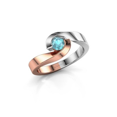 Picture of Ring Sheryl 585 rose gold blue topaz 4 mm