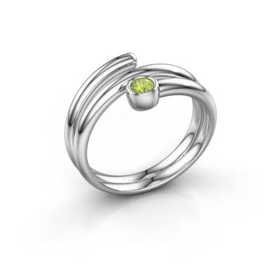 Ring Jenna 585 witgoud peridoot 3 mm