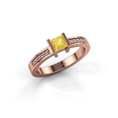 Foto van Aanzoeksring Jordan 375 rosé goud gele saffier 4 mm