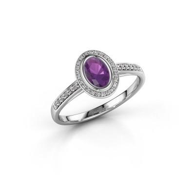 Engagement ring Noud 2 OVL 950 platinum amethyst 6x4 mm