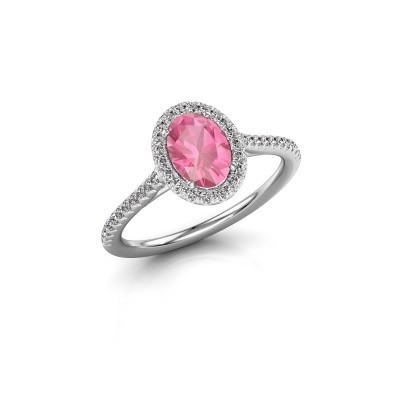 Engagement ring Seline 2 950 platinum pink sapphire 7x5 mm