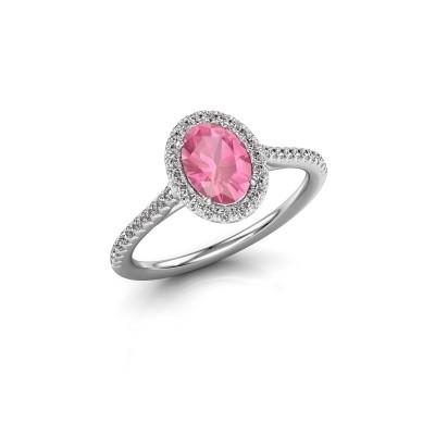 Foto van Verlovingsring Seline 2 950 platina roze saffier 7x5 mm