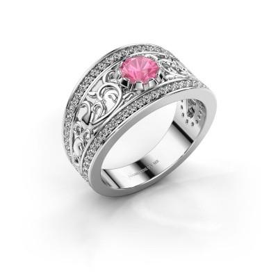 Foto van Ring Marilee 950 platina roze saffier 5 mm