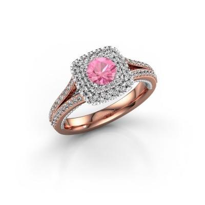 Foto van Verlovingsring Annette 585 rosé goud roze saffier 5 mm
