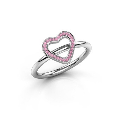 Ring Initial heart 925 zilver roze saffier 0.8 mm