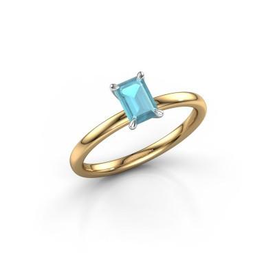 Foto van Verlovingsring Crystal EME 1 585 goud blauw topaas 6x4 mm