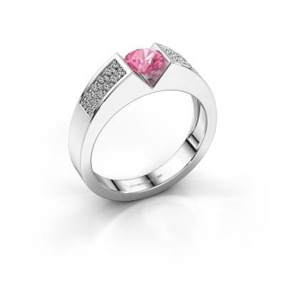 Verlovingsring Lizzy 3 950 platina roze saffier 5 mm