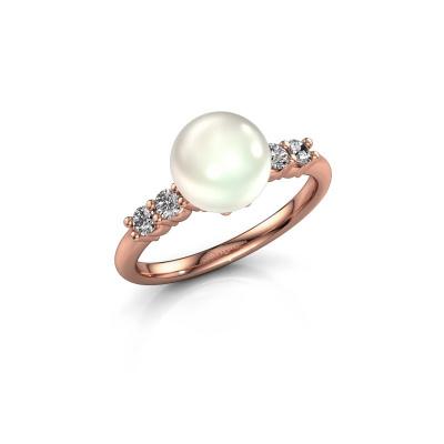 Foto van Ring Cecile 375 rosé goud witte parel 8 mm
