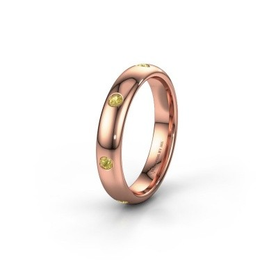 Wedding ring WH0105L34BP 585 rose gold yellow sapphire ±4x2 mm