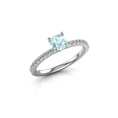 Picture of Engagement ring Crystal rnd 2 585 white gold aquamarine 5 mm