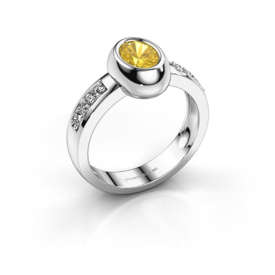 Ring Charlotte Oval 585 white gold yellow sapphire 7x5 mm