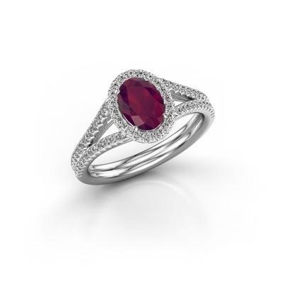 Engagement ring Rachele 2 585 white gold rhodolite 7x5 mm