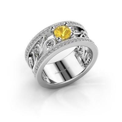 Foto van Ring Sanne 925 zilver gele saffier 5 mm