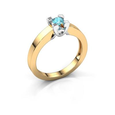 Verlovingsring Nina 1 585 goud blauw topaas 3.7 mm