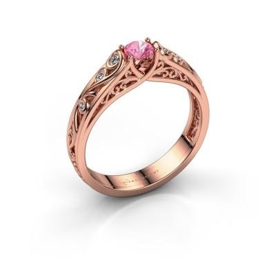 Foto van Ring Quinty 375 rosé goud roze saffier 4 mm