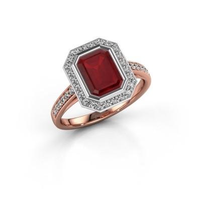 Verlovingsring Noud 2 EME 585 rosé goud robijn 8x6 mm