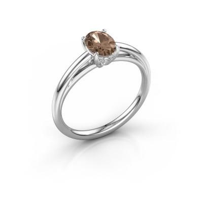 Verlobungsring Haley OVL 1 585 Weißgold Braun Diamant 0.80 crt