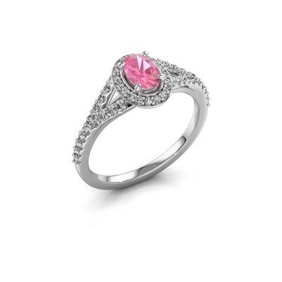Belofte ring Pamela OVL 950 platina roze saffier 7x5 mm