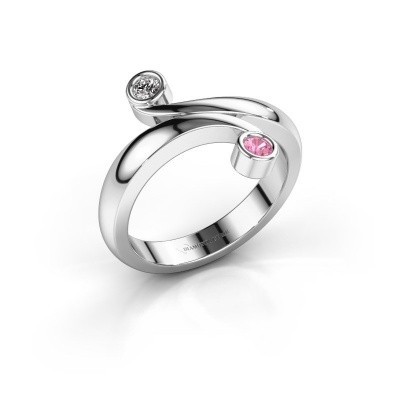 Ring Hilary 585 witgoud roze saffier 2.5 mm