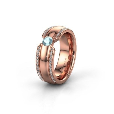 Trouwring WHR0575L 375 rosé goud aquamarijn ±7x2 mm