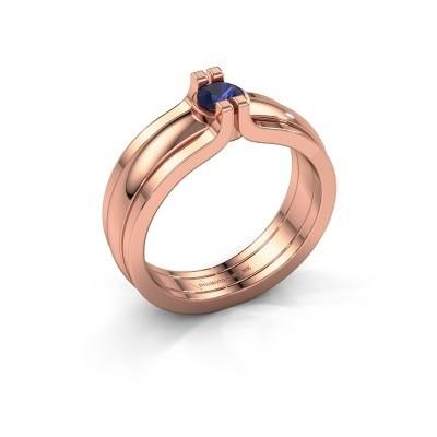 Foto van Ring Jade 585 rosé goud saffier 4 mm