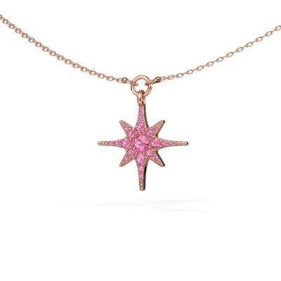 Halsketting Star 375 rosé goud roze saffier 3 mm