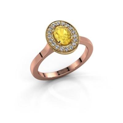 Foto van Ring Madelon 1 585 rosé goud gele saffier 7x5 mm