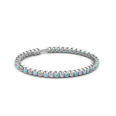 Tennisarmband Asley 585 witgoud blauw topaas 3 mm