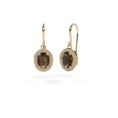 Drop earrings Latesha 585 gold smokey quartz 8x6 mm