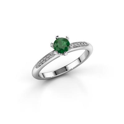 Foto van Verlovingsring Tiffy 2 585 witgoud smaragd 4.7 mm