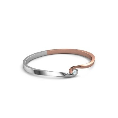 Bracelet jonc Sheryl 585 or rose aigue-marine 3.7 mm