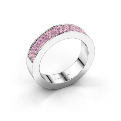 Ring Lindsey 2 585 witgoud roze saffier 1.1 mm