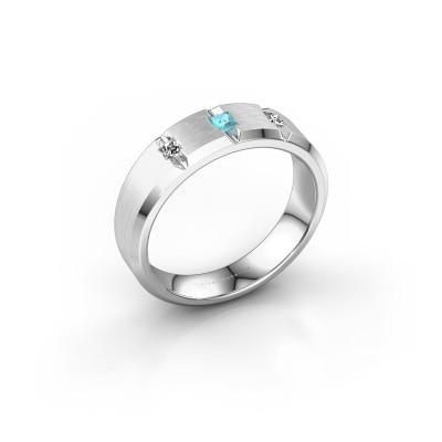 Mannen ring Justin 950 platina blauw topaas 2.5 mm