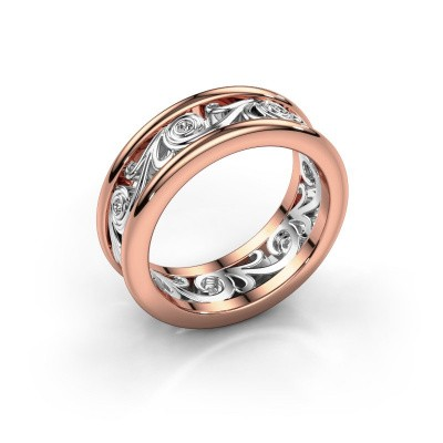 Trouwring Bibi 585 rosé goud diamant ±7x2 mm