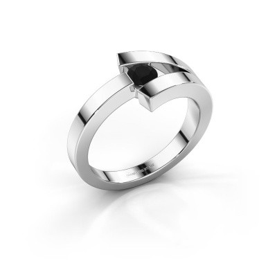 Foto van Ring Sofia 585 witgoud zwarte diamant 0.24 crt