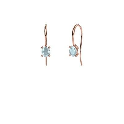 Drop earrings Cleo 375 rose gold aquamarine 6x4 mm